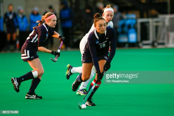 Carissa Gehman of Messiah College looks for an open teammate during the Division III Women's Field Hockey Championship held at Trager Stadium on...