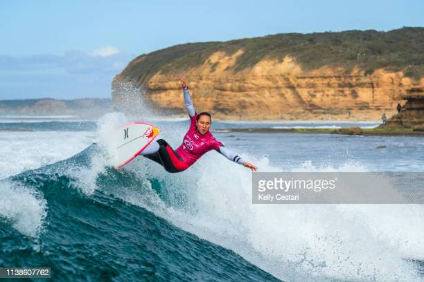 Carissa Moore of Hawaii advances directly to Round 3 of the 2019 Rip Curl Pro Bells Beach after placing second in Heat 2 of Round 1 at Bells Beach on...