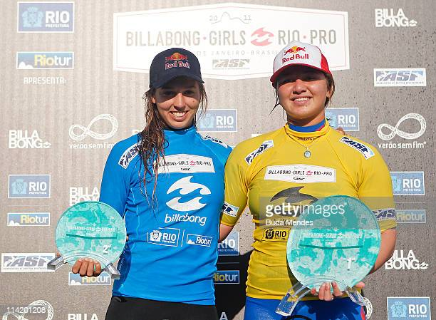 Carissa Moore of Hawaii and Sally Fitzgibbons celebrate the title of the Billabong Rio Gilrs Pro at Barra da Tijuca on May 15 2011 in Rio de Janeiro...