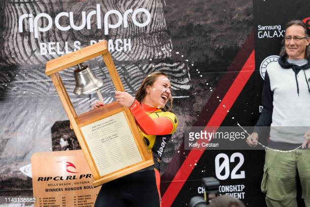 Carissa Moore of Hawaii competing in and winning the 2015 Rip Curl Women's Pro Bells Beach at Bells Beach Torquay Australia Moore defeated Stephanie...