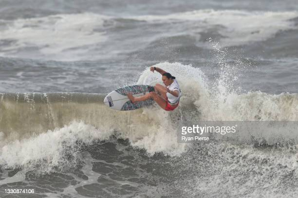 Carissa Moore of Team United States surfs during the Gold Medal match against Bianca Buitendag of Team South Africa on day four of the Tokyo 2020...