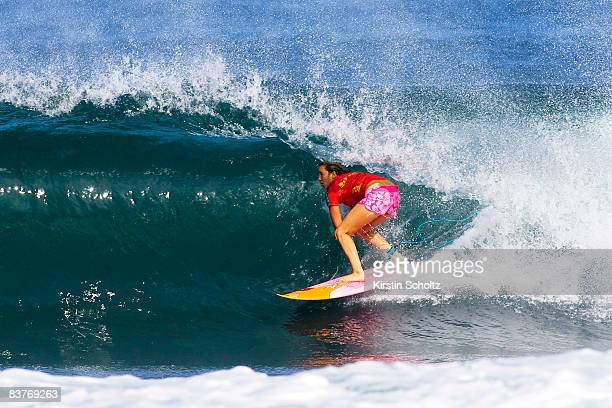 Carissa Moore of the USA competes in the Vans Triple Crown Of Surfing event the Reef Hawaiian Pro on at Ali'i Beach Park on November 20 2008 in...