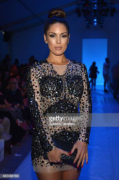 Carissa Rosario attends the Sauvage/Aguaclara Swimwear/Aquarella Swimwear/Mia Marcelle/Toxic Sadie Swimwear fashion show during MercedesBenz Fashion...