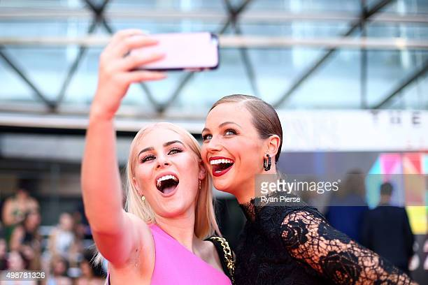Carissa Walford and Ksenija Lukich take a selfie on the red carpet ahead of the 29th Annual ARIA Awards 2015 at The Star on November 26 2015 in...