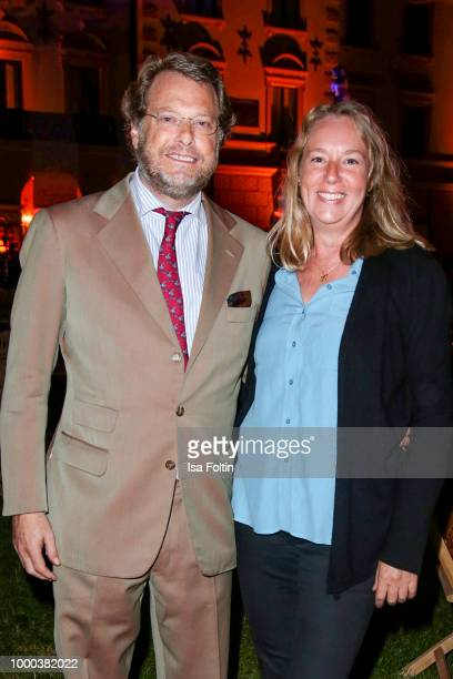 Carl Alban von SchoenburgGlauchau and his wife Juliet Fowler during the Anastacia concert at Thurn Taxis Castle Festival 2018 on July 16 2018 in...