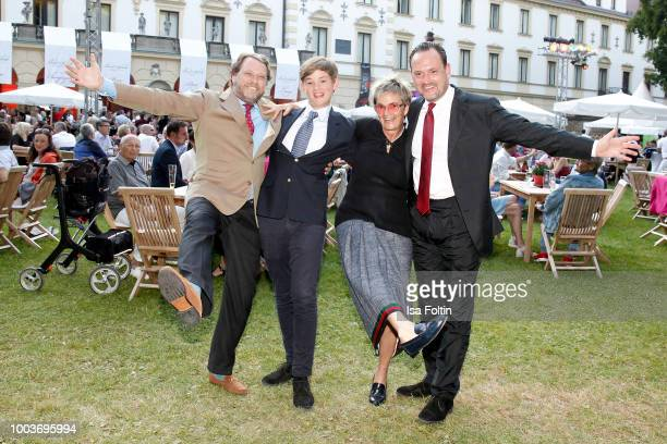 Carl Alban von SchoenburgGlauchau with hies nephew Valentin von SchenburgGlauchau his sister Gloria von Thurn und Taxis and his brother Alexander von...