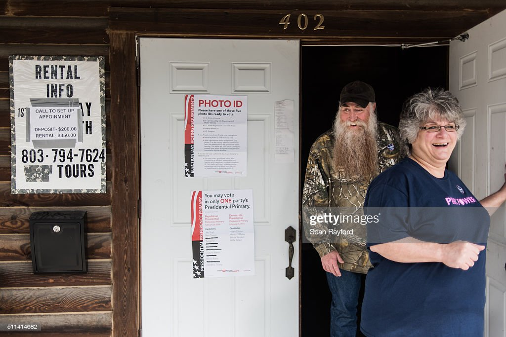 Carl and Debbie Selander walk out of American Legion Memorial Cayce Post 130 after voting in the Republican presidential primary on February 20, 2016 in Cayce, South Carolina. Today's vote is traditionally known as the 'First in the South' primary.