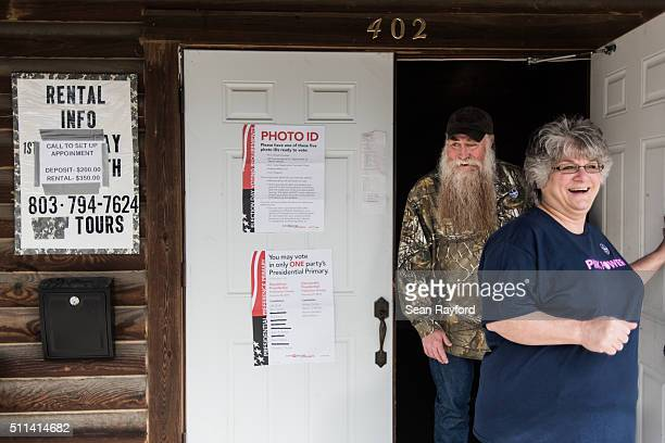 Carl and Debbie Selander walk out of American Legion Memorial Cayce Post 130 after voting in the Republican presidential primary on February 20 2016...