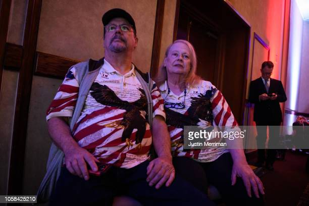 Carl and Jill Phipps of Fredericksburg Ohio wait for results at the Ohio Republican Party's election night party at the Sheraton Capitol Square on...