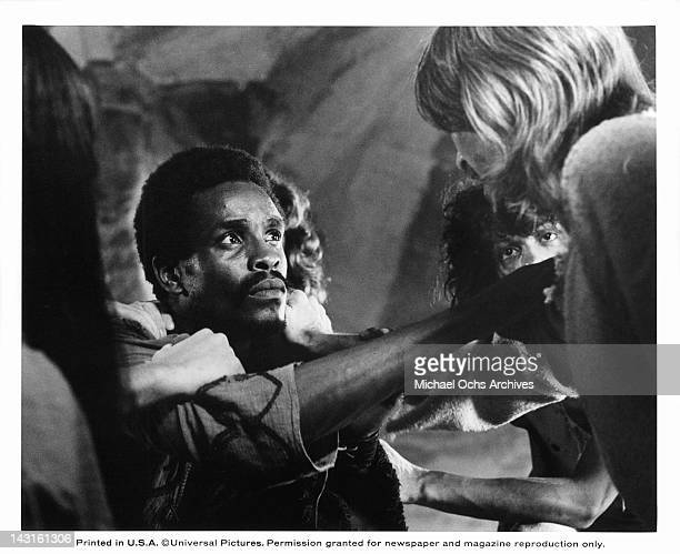 Carl Anderson pointing at Ted Neeley chest in a scene from the film 'Jesus Christ Superstar', 1973.