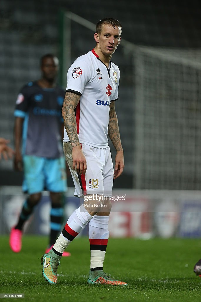 Carl Baker of Milton Keynes Dons in action during the Sky Bet Championship match between Milton Keynes Dons and Sheffield Wednesday at stadium:mk on December 15, 2015 in Milton Keynes, United Kingdom.