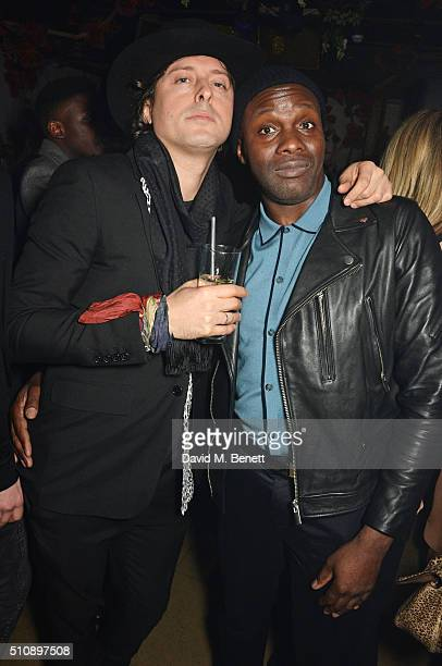Carl Barat and Gary Powell attend the Ciroc NME Awards 2016 after party hosted by Fran Cutler at The Cuckoo Club on February 17 2016 in London England