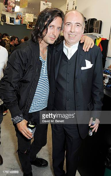 Carl Barat and Mick Jones attend the launch of 'Black Market Clash' an exhibition of personal memorabilia and items curated by original members of...