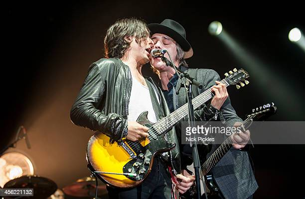Carl Barat and Pete Doherty of The Libertines perform at Alexandra Palace on September 27 2014 in London England
