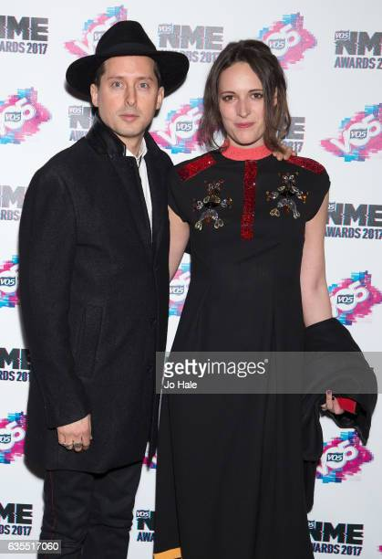 Carl Barat and Phoebe Waller Bridge arrive at the VO5 NME awards 2017 on February 15 2017 in London United Kingdom