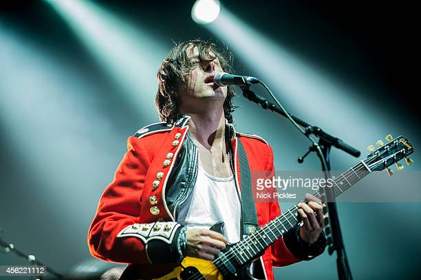 Carl Barat of The Libertines performs at Alexandra Palace on September 27 2014 in London England