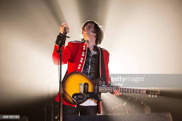 Carl Barat of The Libertines performs on stage at Alexandra Palace on September 26 2014 in London United Kingdom