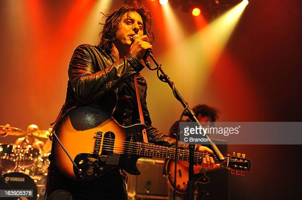 Carl Barat performs on stage at O2 Shepherd's Bush Empire on March 17 2013 in London England