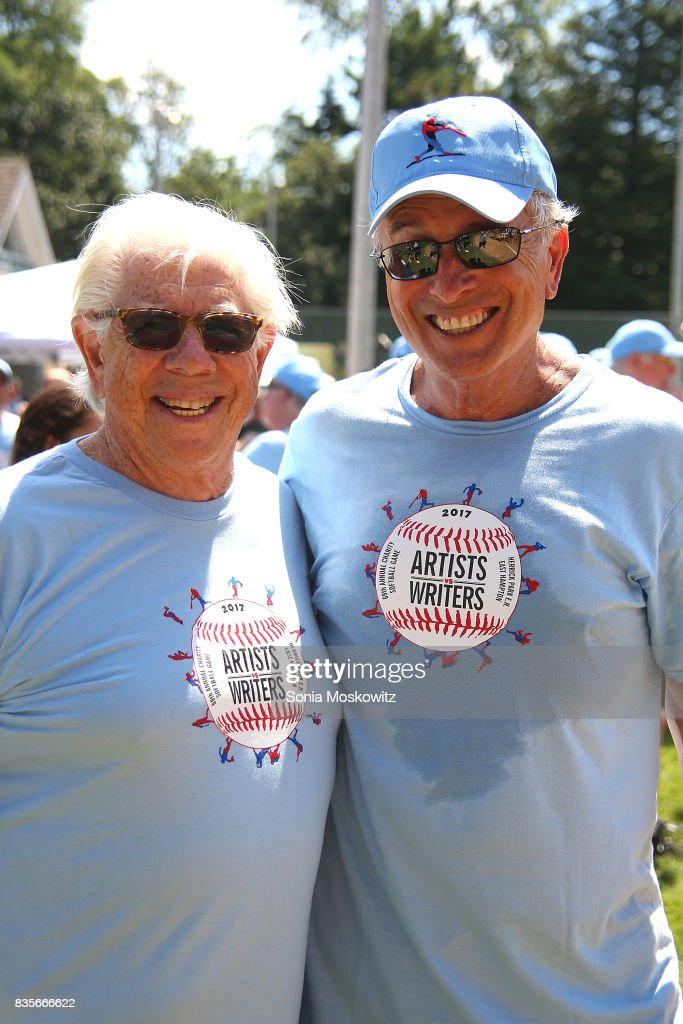 Carl Bernstein and Ken Auletta attend the 69th Annual Artists and Writers Softball Game at Herrick Park on August 19, 2017 in East Hampton, New York.