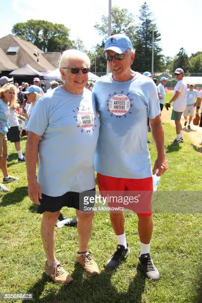 Carl Bernstein and Ken Auletta attend the 69th Annual Artists and Writers Softball Game at Herrick Park on August 19 2017 in East Hampton New York