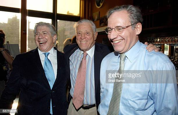 Carl Bernstein Ben Bradlee and Bob Woodward attend the screening of 'All The President's Men' at the Tribeca Cinemas on July 19 2005 in New York City