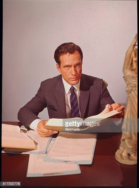 Carl Betz posing for a publicity handout as his starring role in the television series Judd For The Defense which ran from 19671969