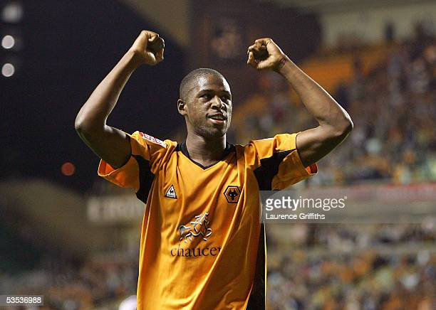 Carl Cort of Wolves celebrates scoring his third goal during the CocaCola Championship match between Wolverhampton Wanderers and Queens Park Rangers...