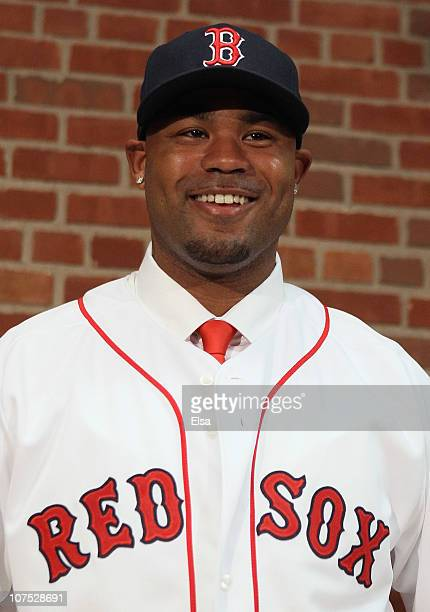 Carl Crawford answers questions during a press conference announcing his signing with the Boston Red Sox on December 11 2010 at the Fenway Park in...