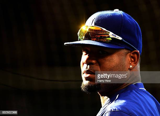 Carl Crawford of the Los Angeles Dodgers at batting practice before the game against the Los Angeles Angels at Angel Stadium of Anaheim on May 19...