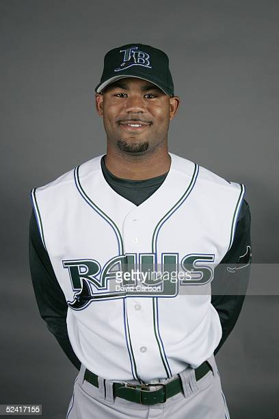 Carl Crawford of the Tampa Bay Devil Rays poses for a portrait during photo day at Progress Energy Park on March 1 2005 in St Petersburg Florida