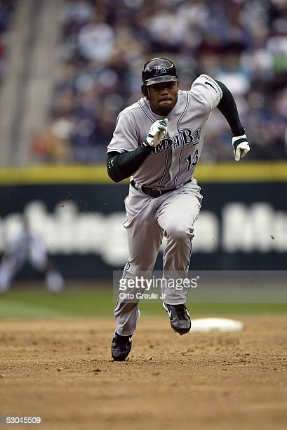 Carl Crawford of the Tampa Bay Devil Rays runs the bases during the game with the Seattle Mariners on June 5 2005 at Safeco Field in Seattle...