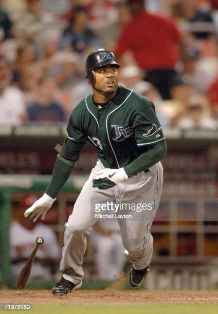Carl Crawford of the Tampa Bay Devil Rays takes a swing during a baseball game against the Washington Nationals on June 30 2006 at RFK Stadium in...