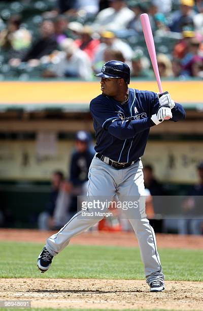 Carl Crawford of the Tampa Bay Rays bats during the game between the Tampa Bay Rays and the Oakland Athletics on Sunday May 9 at the Oakland Coliseum...