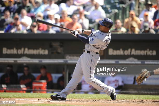 Carl Crawford of the Tampa Bay Rays takes a swing during a baseball game against the Baltimore Orioles on April 14 2010 at Camden Yards in Baltimore...