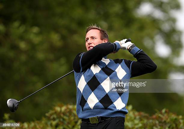 Carl Cross of Mellor Townscliffe GC tees off during the Glenmuir PGA Professional Championship North West Region Qualifier at Delamere Forest Golf...