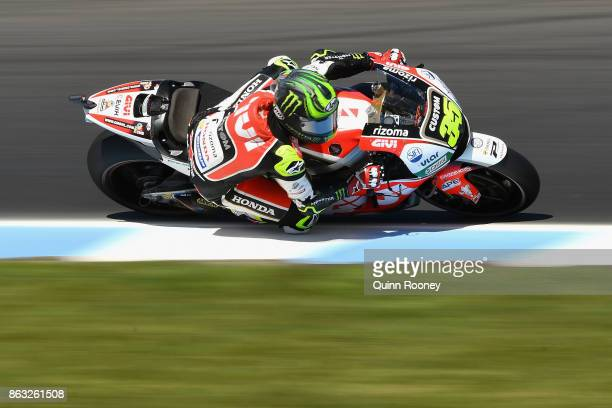 Carl Crutchlow of Great Britain rides the LCR Hond during free practice for the 2017 MotoGP of Australia at Phillip Island Grand Prix Circuit on...