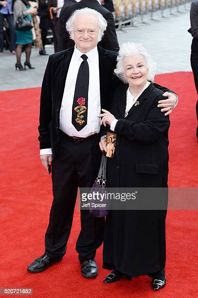 """Carl Davis and Jean Boht arrive for the UK film premiere Of """"Florence Foster Jenkins"""" at Odeon Leicester Square on April 12, 2016 in London, England."""