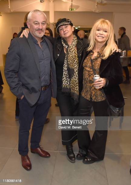Carl Douglas, Fran Cutler and Jo Wood attend a private view of The Now Exhibition curated by Leah Wood at RE: Centre on March 14, 2019 in London,...