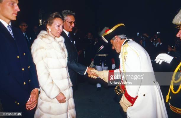 Carl Duke of Wurttemberg with his wife Diane get a warm welcome to an evening event Germany 1985