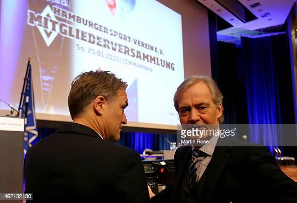 Carl Edgar Jarchow , president of Hamburger SV talks to Dietmar Beiersdorfer, chairman of Hamburger SV during Hamburger SV General Meeting at...