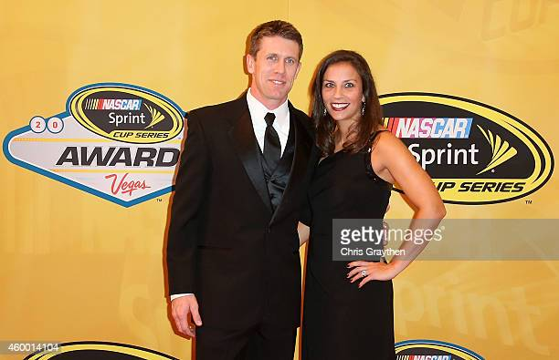 Carl Edwards and his wife Dr Kate Edwards arrive on the red carpet prior to the 2014 NASCAR Sprint Cup Series Awards at Wynn Las Vegas on December 5...