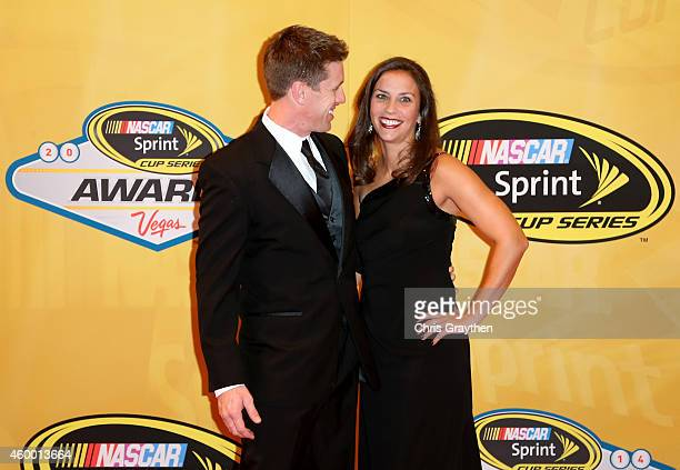 Carl Edwards and his wife Kate arrive on the red carpet prior to the 2014 NASCAR Sprint Cup Series Awards at Wynn Las Vegas on December 5 2014 in Las...