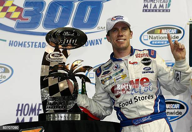 Carl Edwards celebrates winning during the NASCAR Nationwide Series Ford 300 at Homestead-Miami Speedway on November 15, 2008 in Homestead, Florida.