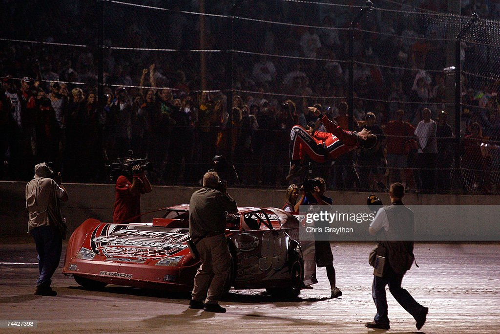 Carl Edwards does a backflip after winning the Nextel Prelude to the Dream on June 6, 2007 at Eldora Speedway in New Weston, Ohio.