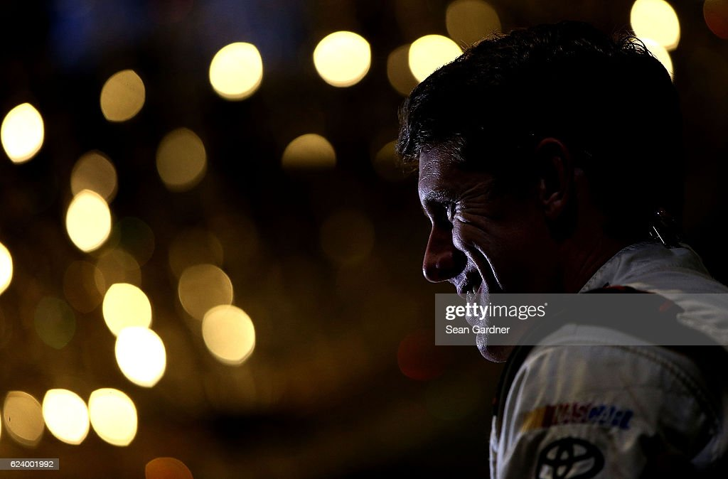 Carl Edwards, driver of the #19 Arris Surfboard Toyota, talks to the media during media day for the NASCAR Sprint Cup Series Championship at the Loews Hotel on November 17, 2016 in Miami Beach, Florida.