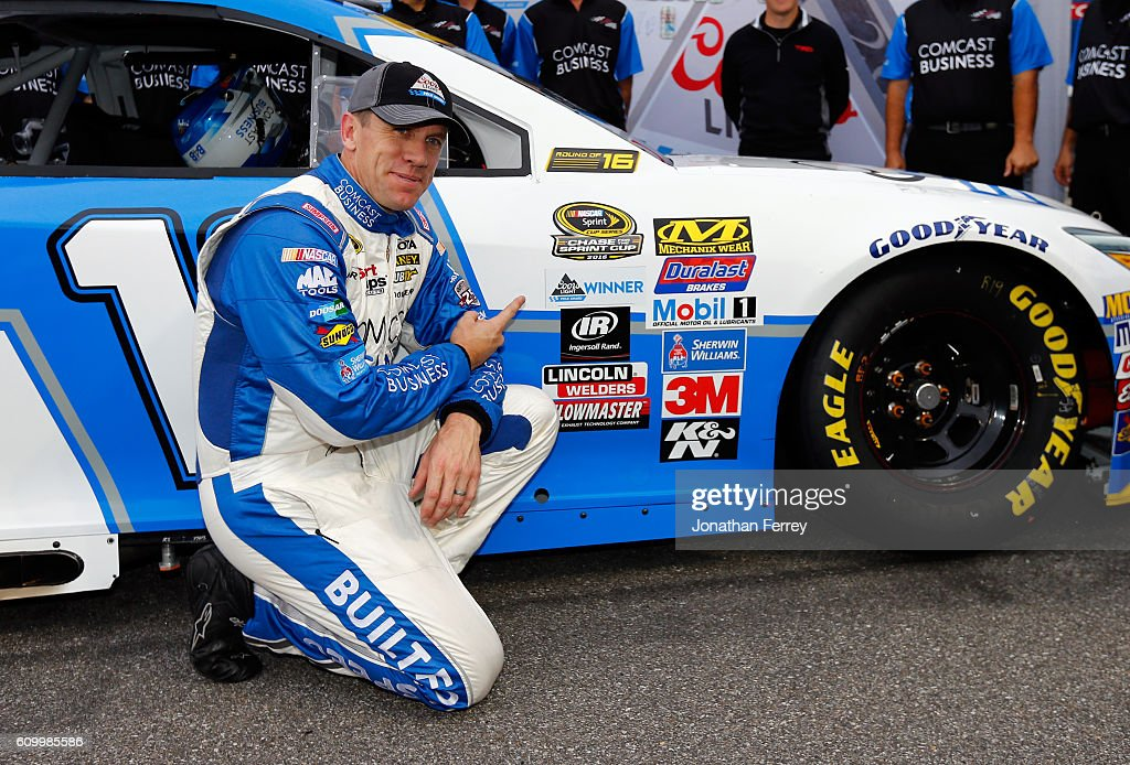 Carl Edwards, driver of the #19 Comcast Business Toyota, poses with the Coors Light Pole Award after qualifying for pole position for the NASCAR Sprint Cup Series Bad Boy Off Road 300 at New Hampshire Motor Speedway on September 23, 2016 in Loudon, New Hampshire.