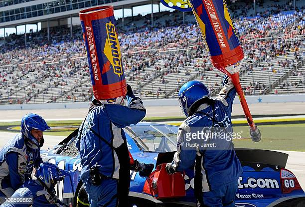 Carl Edwards driver of the Copartcom Ford pits during the NASCAR Nationwide Series O'Reilly Auto Parts Challenge at Texas Motor Speedway on November...