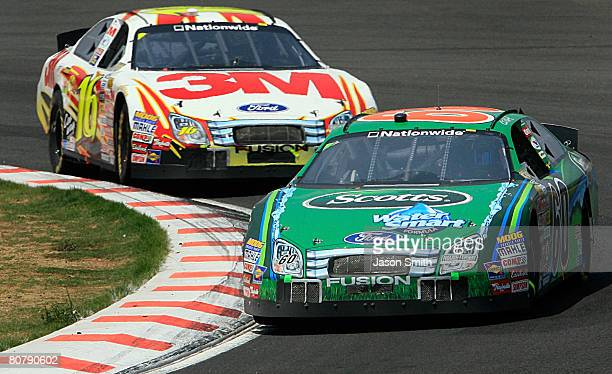 Carl Edwards driver of the Scotts Watersmart Ford leads Colin Braun driver of the 3M Ford during the NASCAR Nationwide Series Corona Mexico 200 at...