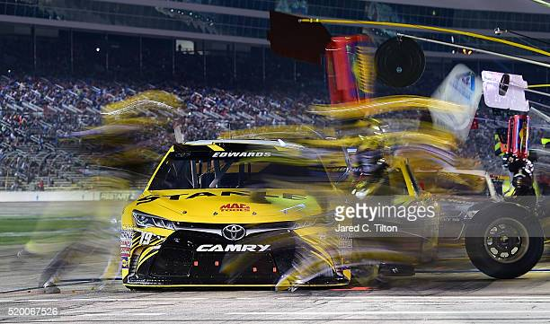 Carl Edwards driver of the Stanley Toyota pits during the NASCAR Sprint Cup Series Duck Commander 500 at Texas Motor Speedway on April 9 2016 in Fort...