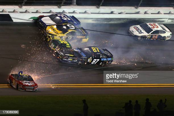 Carl Edwards, driver of the SUBWAY Ford, Scott Speed, driver of the Leavine Family Racing Ford, Marcos Ambrose, driver of the Stanley Ford, and Joe...